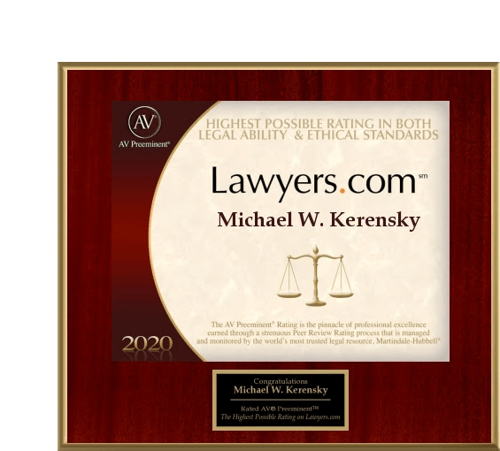 Michael Kerensky Lawyers.com Plaque