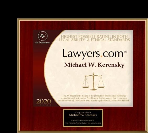 Michael Kerensky Lawyers.com Plaque